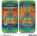 iPhone 4 Decal Style Vinyl Skin - Tie Dye Peace Sign 111 (DOES NOT fit newer iPhone 4S)