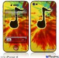 iPhone 4 Decal Style Vinyl Skin - Tie Dye Music Note 100 (DOES NOT fit newer iPhone 4S)